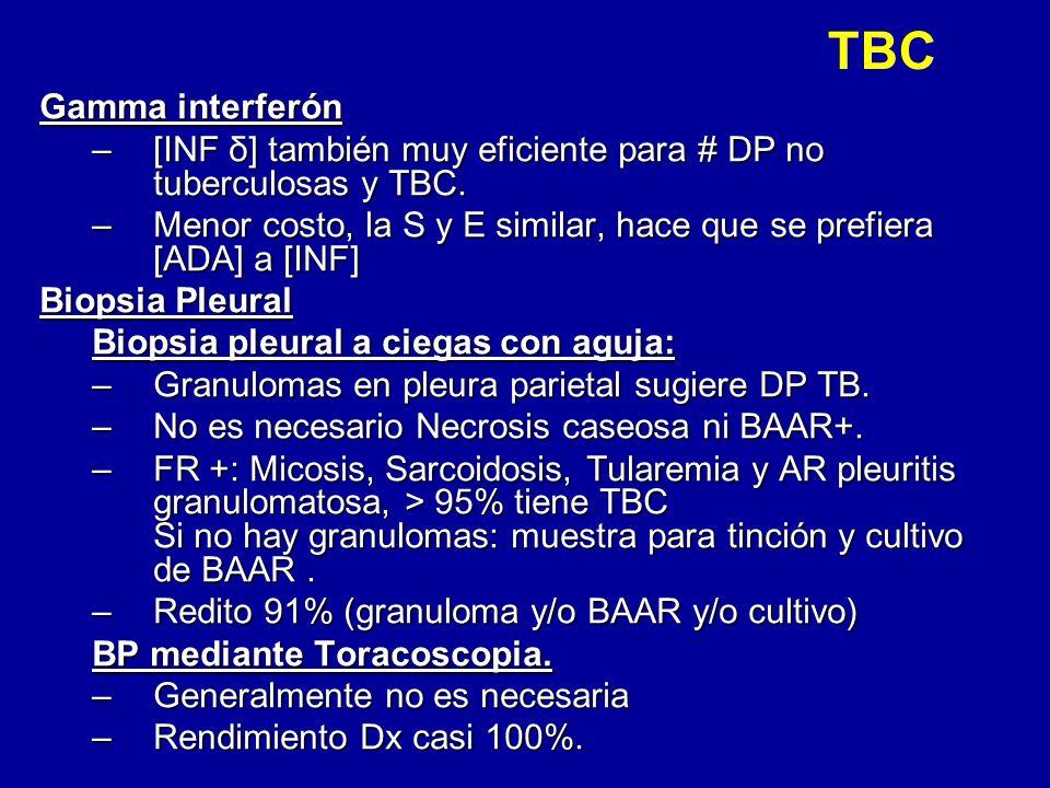 TBC Gamma interferón. [INF δ] también muy eficiente para # DP no tuberculosas y TBC.